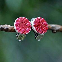 Náušnice - Náušnice Klipsne Červená kvetinka - 9742016_