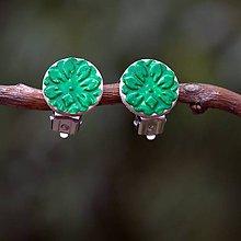 Náušnice - Náušnice Klipsne Zelená kvetinka - 9742030_