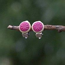 Náušnice - Náušnice Klipsne Ružová kvetinka - 9742045_