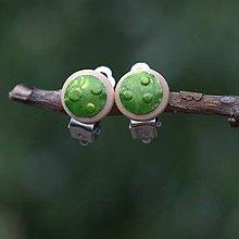 Náušnice - Náušnice Klipsne Zelené bodky - 9742070_