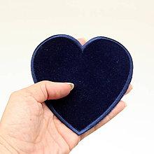 Galantéria - Nažehlovačka Srdce tmavomodré semišové - 9742103_