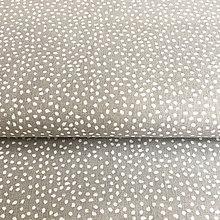 Textil - látka Bodky v sivej; 100 % bavlna Francúzsko, šírka 160 cm - 9741878_