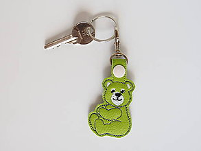 Kľúčenky - Prívesok macko (Zelená) - 9741976_