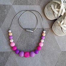 """Náhrdelníky - Silikónový náhrdelník na kojenie a prerezávanie zúbkov """"Fuchsia"""" - 9743080_"""