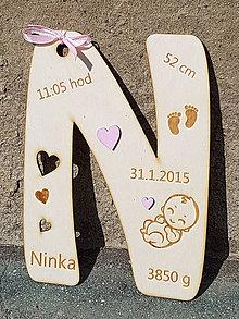 Detské doplnky - Písmeno s údajmi o narodení výška 20cm - 9740644_