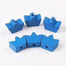 Korálky - drevená korálka korunka 16mm (tm.modrá) - 9740336_
