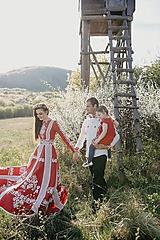 Šaty - Červené ľanové dlhé šaty Slavianka - 9740618_
