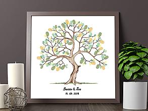 Grafika - Svadobný strom na odtlačky prstov - Susan - 9743259_