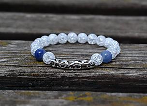 Náramky - náramok krištáľ a aventurín modrý - 9740657_