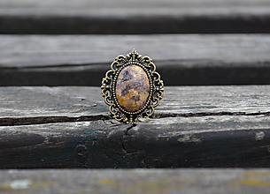 Prstene - Jaspis prsteň starobronz - 9741805_