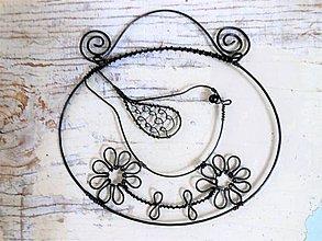 Dekorácie - Ptáček na květince - 9740451_