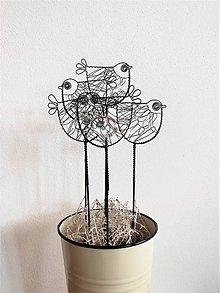 Dekorácie - Ptáček s čirým oblázkem - 9742321_
