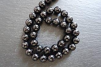 Minerály - Onýx fazetovaný 10mm - kus/šnúra (1 šnúra) - 9743015_