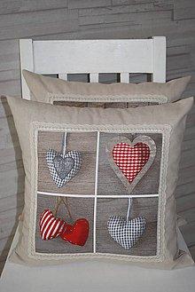 Úžitkový textil - POVLAK  NA POLŠTÁŘ ..srdce - 9744681_