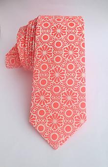 Doplnky - kravata SLIM lososová - 9743317_