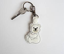 Kľúčenky - Prívesok macko (Biela) - 9743736_