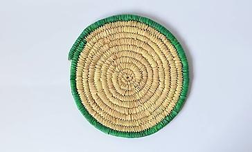 Pomôcky - Ručne pletená podložka z palmových listov - Green / Blue - 9743615_
