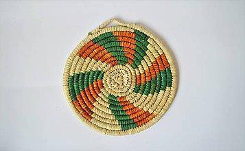 Pomôcky - Ručne pletená podložka z palmových listov - Green Orange Fan - 9745125_
