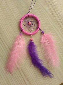 Dekorácie - Malý lapač snov fialovo ruzovy - 9744988_