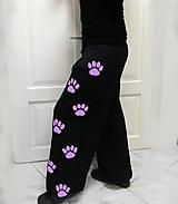 Nohavice - Tanečné tepláky s lila labkami S - 3XL... - 9745196_