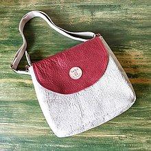Kabelky - Ľanová kabelka s koženou klopou - 9743785_