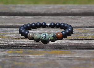 Šperky - náramok africký tyrkys a ónyx - 9744009_