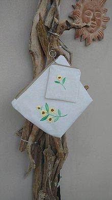 Kabelky - Ľanová taštička + malá peňaženka - 9744761_