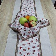 Úžitkový textil - Vintage ružičky na režnej(2) - stredový obrus - 9745000_