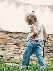 Detské oblečenie - Lněné kapsičkové tyrkysové s kytkami - 9743556_