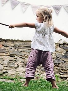 Detské oblečenie - Lněné tříčtvrťáčky Mauve - 9744015_