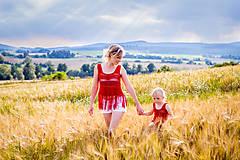 Tielka - Bordové háčkované tielko mama&dcéra - 9744974_