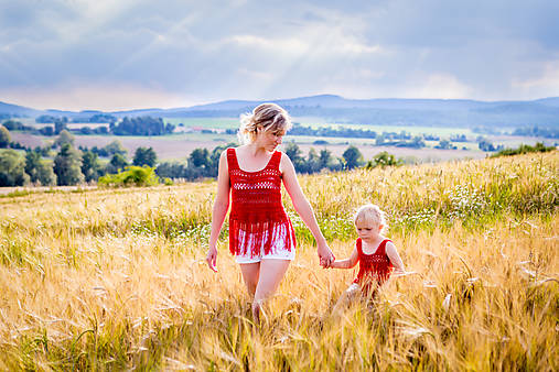 Bordové háčkované tielko mama&dcéra