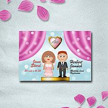Papiernictvo - Luxus svadobné oznámenie s vlastnou karikatúrou - 9743522_