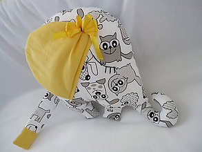 Úžitkový textil - Sloník - žltá mašlička - 9746986_