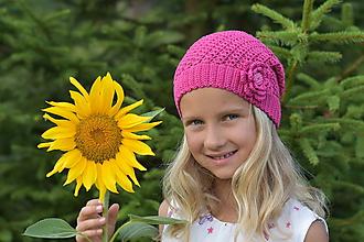 Detské čiapky - Zľava zo 14 na 10 eur-Ružová háčkovaná čiapka - 9746178_