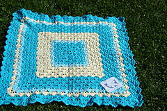 Textil - Háčkovaná detská deka tyrkysovomaslová - 9747111_
