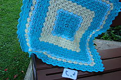 Textil - Háčkovaná detská deka tyrkysovomaslová - 9747112_