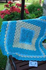 Textil - Háčkovaná detská deka tyrkysovomaslová - 9747113_