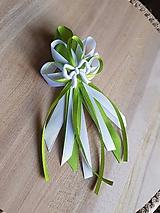 Pierka - pierko zeleno-biele pre rodičov, svedkov s mašličkou - 9746523_