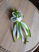 Pierka - pierko zeleno-biele pre rodičov, svedkov so srdiečkom - 9746555_