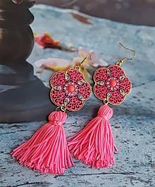 Náušnice - krásne ružové orientálne so strapcami - 9746765_