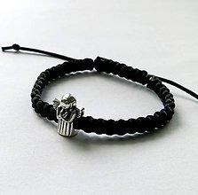 Náramky - S anjelikom detský (čierna) - 9746507_