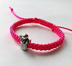 Náramky - S anjelikom detský (ružová neon) - 9746554_