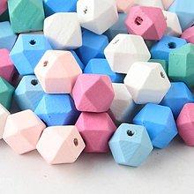Korálky - drevená korálka geometric (Tm.Ružová) - 9745871_