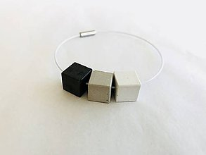 Náramky - Betónový náramok - Three (Kocky - Biela, šedá, čierna) - 9746241_