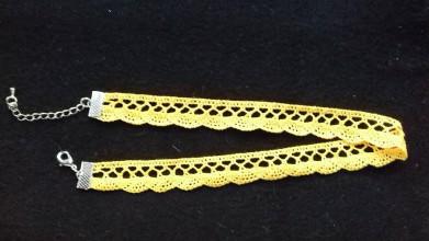 Iné šperky - obojkový náhrdelník - folk choker šírka 1 cm (žltá krajka) - 9745819_