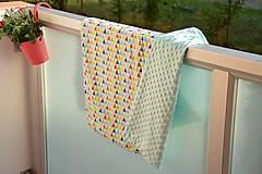 Textil - Minky deka celoročná 100×75cm TRIANGLE RAINBOW - 9746850_