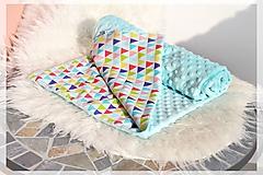 Textil - Minky deka celoročná 100×75cm TRIANGLE RAINBOW - 9746865_