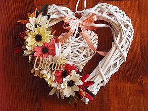 Dekorácie - Jesenné srdce s nápisom 28cm - 9745583_