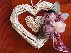 Dekorácie - Vintage srdce s mašličkou s bodkami - 9745658_